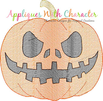 Halloween Jack-o-Lantern Pumpkin Sketch Embroidery Design