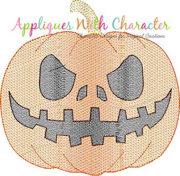Halloween Jack-o-Lantern Pumpkin Bean Stitch Design