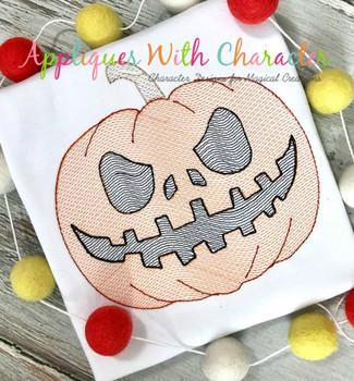 Halloween Jack-o-Lantern Pumpkin Sketch Embroidery Design