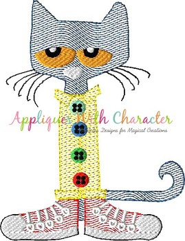 Peter the Cat Sketch Embroidery Design