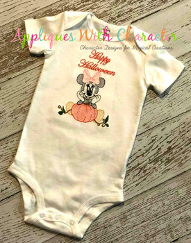 Miss Mouse with Pumpkin Sketch Embroidery Design