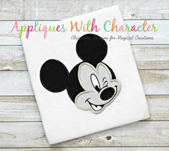 Mr Mouse Wink Face Applique Design