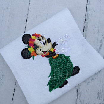 Hula Hawaiian Miss Mouse Applique Design