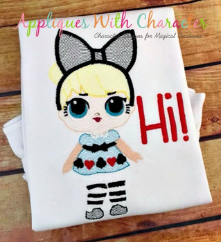 Alice Doll Sketch Embroidery Design