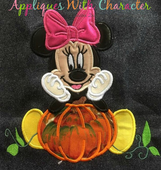 Miss Mouse with Pumpkin Applique Design