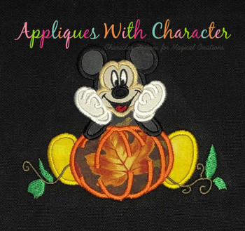 Mr. Mouse with Pumpkin Applique Design