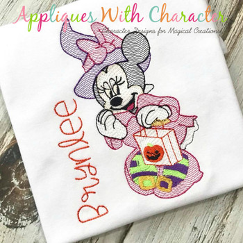 Miss Mouse Witch Halloween Sketch Embroidery Design