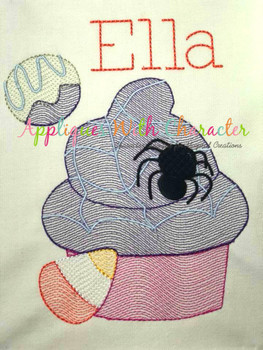 Halloween Cupcake Sketch Embroidery Design