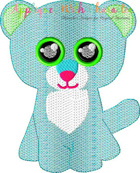Big Eyed Leopard Sketch Embroidery Design