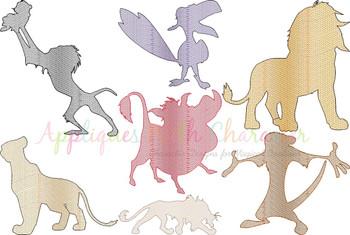 Lion King Sketch Embroidery Design Set
