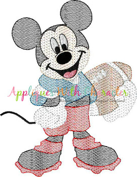 Mr. Mouse Football Sketch Embroidery Design