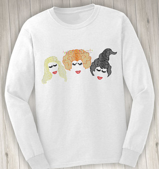 Halloween Sister Three Hocus Pocus with Eyelashes Sketch Embroidery Design