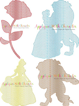 Beauty and Beast Sketch Embroidery Design Set