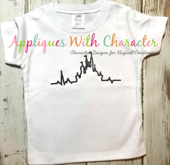 Disney Castle Heartbeat Sketch Embroidery Design