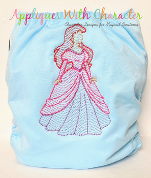Mermaid Princess Sketch Embroidery Design