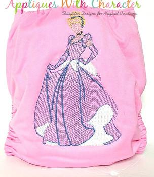 Cindy Princess Sketch Embroidery Design