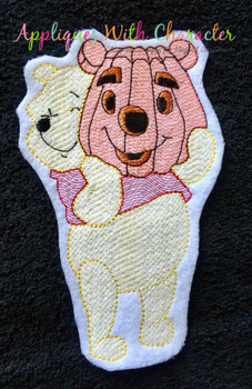 Honey Bear Holding Pumpkin Bean Stitch Design