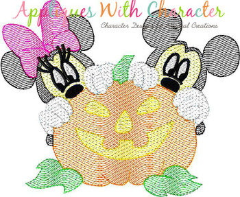 Mr Mouse Miss Mouse Halloween Pumpkin Sketch Embroidery Design
