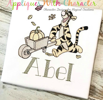 Honey Bear Tigger with Pumpkin Sketch Embroidery Design