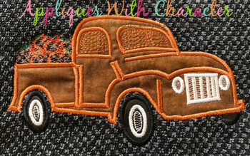 Applique Truck with Bean Stitch Pumpkins Applique Design
