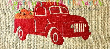 Truck with Pumpkins Filled Stitch Design