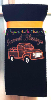 Harvest Blessings Applique Truck with Bean Stitch Pumpkins Applique Design