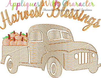 Harvest Blessings Truck with Pumpkins Sketch Embroidery Design