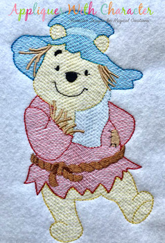Honey Bear Scarecrow Sketch Embroidery Design