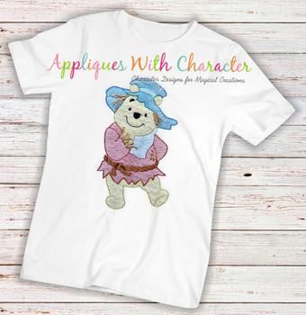 Honey Bear Scarecrow Sketch Embroidery Design
