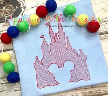 Mr. Mouse in Castle Sketch Embroidery Design