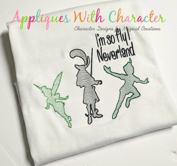 Peter Pan Captain Hook Tinkerbell Sketch Embroidery Design
