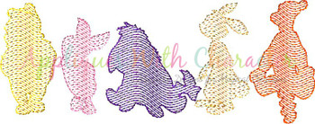 Honey Bear and  Crew Sketch Embroidery Design