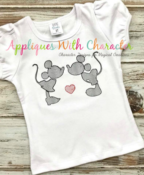 Mr. Mouse & Miss Mouse Love Sketch Embroidery Design