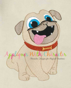 Puppy Friends Rolly Sketch Embroidery Design