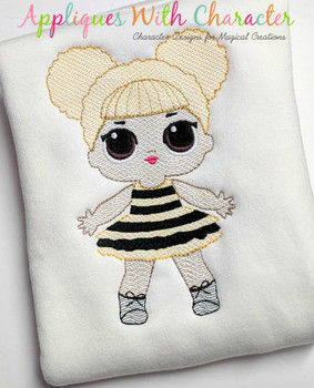 Glitter Doll Sketch Embroidery Design