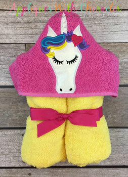 Unicorn with Flowers Heart Peeker Applique Design