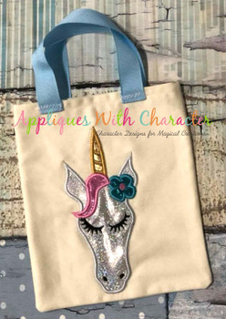 Unicorn Full Face with Flower Applique Design