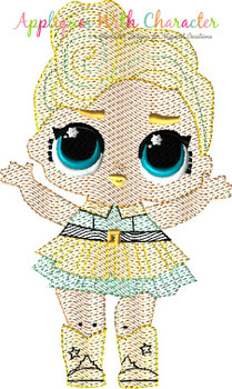 Luxe Doll Sketch Embroidery Design