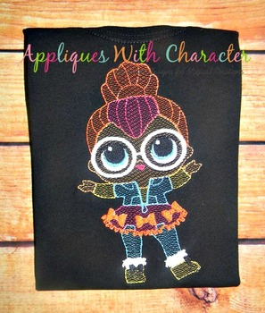 Neon Doll Sketch Embroidery Design