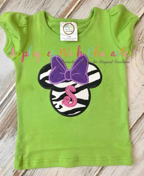 Miss Mouse Head Bow Applique Design