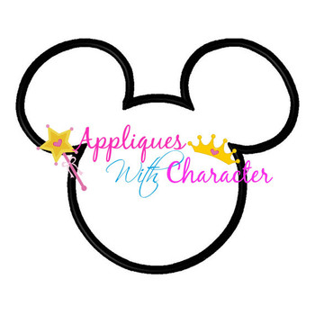 Mr Mouse Head Outline Applique Design