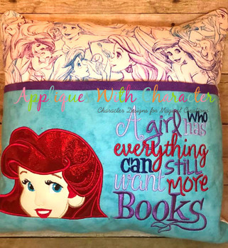 Mermaid Peeker Applique Design on Reading Pillow