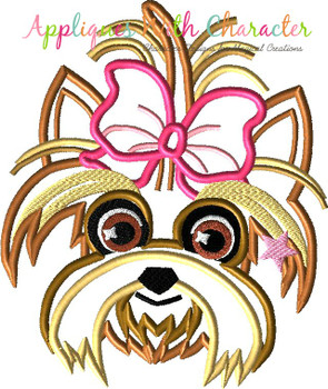 Jo Rainbow Hair Girl's Dog Bow Eyes Open Applique Design