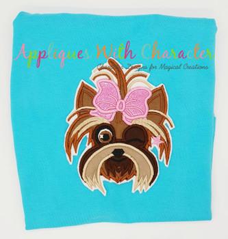 Jo Rainbow Hair Girl's Dog Bow Winking Applique Design