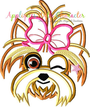 Jo Rainbow Hair Girl's Dog Bow Winking Applique Design