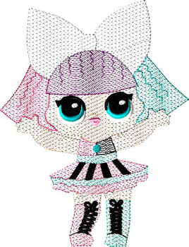 Pranksta Doll Sketch Embroidery Design