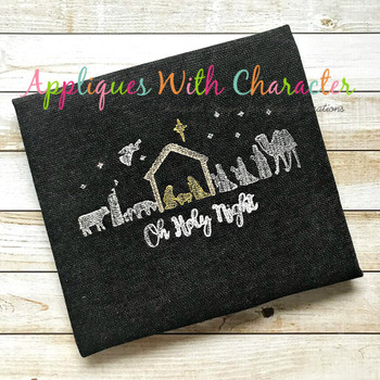 Nativity Oh Holy Night Sketch Embroidery Design
