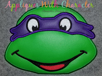 Donny Ninja Hero Turtle Peeker Applique Design
