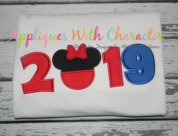 2019 Miss Mouse Head Applique Design