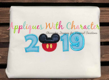 2019 Mr Mouse Head Applique Design